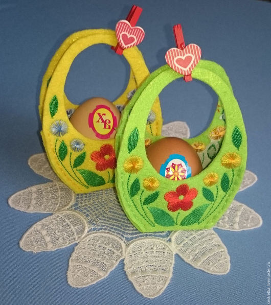 Вышивка ручной работы. Ярмарка Мастеров - ручная работа. Купить Дизайн машинной вышивки - Корзиночки для пасхального яйца. Handmade. Комбинированный