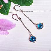 Украшения handmade. Livemaster - original item Long leaf Earrings with bright blue droplets. Handmade.