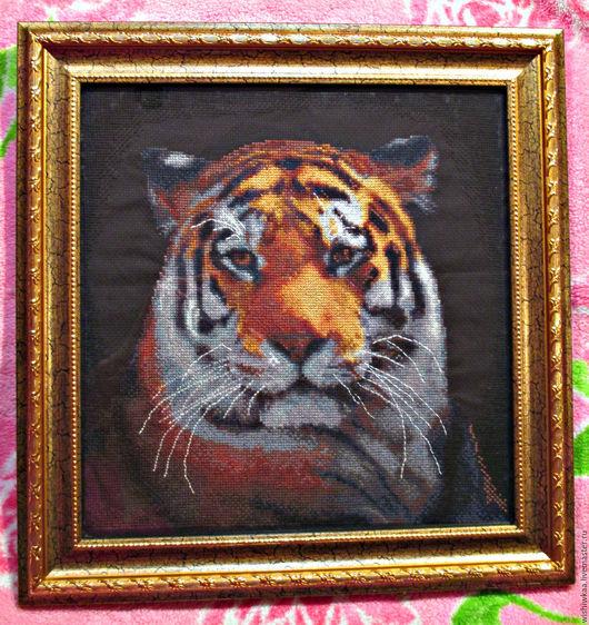 """Животные ручной работы. Ярмарка Мастеров - ручная работа. Купить Картина """"Тигр"""", вышитая крестом. Ручная работа.. Handmade. Коричневый"""