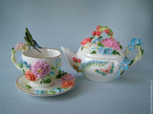 Сервизы, чайные пары ручной работы. Ярмарка Мастеров - ручная работа. Купить Чайник Сладка-ягода с чайной парой.. Handmade.
