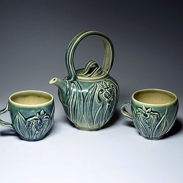 Посуда ручной работы. Ярмарка Мастеров - ручная работа Чайный набор «Ирисы». Handmade.