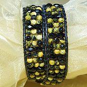 Украшения handmade. Livemaster - original item Chan Lu Bracelet Contrast.Yellow-black.Wide bracelet made of leather and stones.. Handmade.