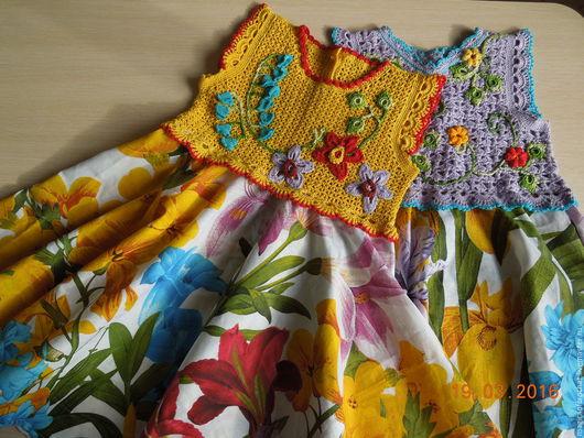 """Одежда для девочек, ручной работы. Ярмарка Мастеров - ручная работа. Купить """"Цветочная полянка"""" платье комбинированное в ассортименте. Handmade. Цветочный"""