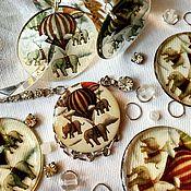 Украшения ручной работы. Ярмарка Мастеров - ручная работа Слоны на воздушных шарах серьги прозрачные. Handmade.