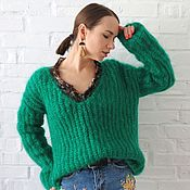 Одежда handmade. Livemaster - original item Pullover women`s knit, oversize sweater green. Handmade.