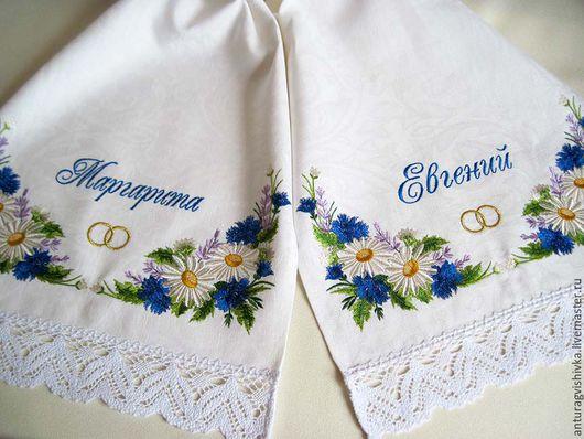 Свадебный рушник, Рушник на свадьбу, Рушник с вышивкой, Рушник для венчания, Венчальный рушник,  Союзный рушник, Рушник на каравай, Рушник на икону, Рушник свадебный, Полевые цветы