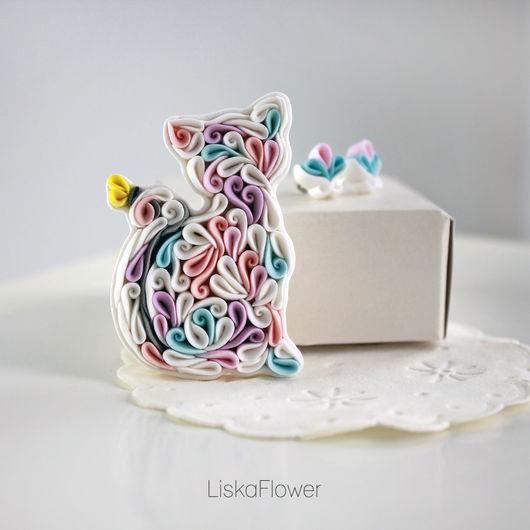 Комплекты украшений ручной работы. Ярмарка Мастеров - ручная работа. Купить Комплект  брошь Кошка с серьгами-гвоздиками из полимерной глины. Handmade.