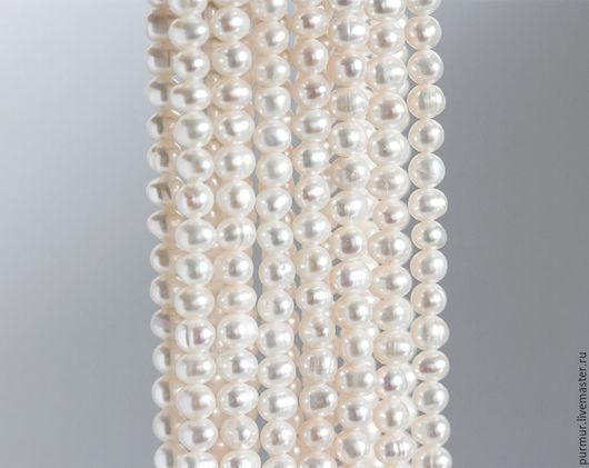Для украшений ручной работы. Ярмарка Мастеров - ручная работа. Купить 1571_Белый жемчуг 5-6 мм, округлый натуральный жемчуг, слоновая кость,. Handmade.