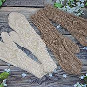 Аксессуары handmade. Livemaster - original item Down mittens with braids for women. Handmade.
