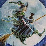 """Для дома и интерьера handmade. Livemaster - original item Часы настенные """"Веселая ведьма!!! :-))"""". Handmade."""
