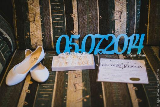 Свадебные аксессуары ручной работы. Ярмарка Мастеров - ручная работа. Купить Дата свадьбы. Handmade. Дата свадьбы, слово из дерева
