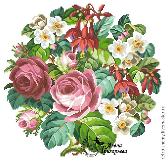 """Схема вышивки """"Розы и фуксии""""."""