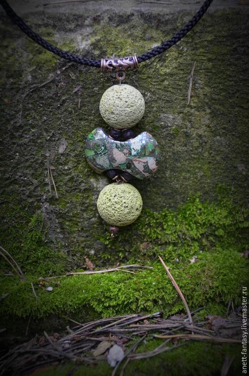 """Кулоны, подвески ручной работы. Ярмарка Мастеров - ручная работа. Купить Кулон зеленый """"Гармония"""". Handmade. Зеленый, прессованный камень"""