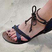 """Обувь ручной работы. Ярмарка Мастеров - ручная работа Кожаные сандали """"Винтажный синий"""". Handmade."""