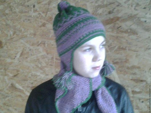 Шапки ручной работы. Ярмарка Мастеров - ручная работа. Купить Шапочка с ушками + шарфик. Handmade. Комбинированный, подарок