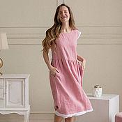 Одежда handmade. Livemaster - original item Linen dress in pink with white lace. Handmade.