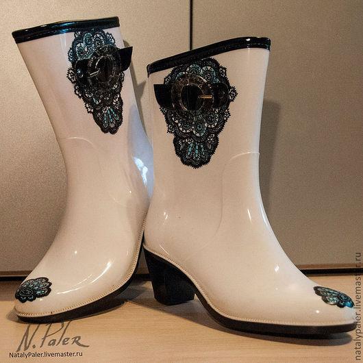"""Обувь ручной работы. Ярмарка Мастеров - ручная работа. Купить Роспись по обуви. Резиновые сапоги """"Черное кружево"""". Handmade. Сапожки"""