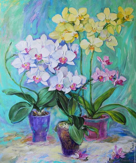 Картины цветов ручной работы. Ярмарка Мастеров - ручная работа. Купить Мои любимые орхидеи. Handmade. Мятный, картина маслом