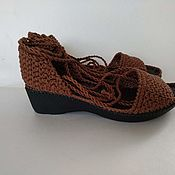 Обувь ручной работы handmade. Livemaster - original item Knitted sandals - cotton. Handmade.