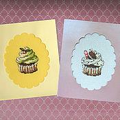 Открытки handmade. Livemaster - original item Cross stitch postcard Cup Cakes. Handmade.