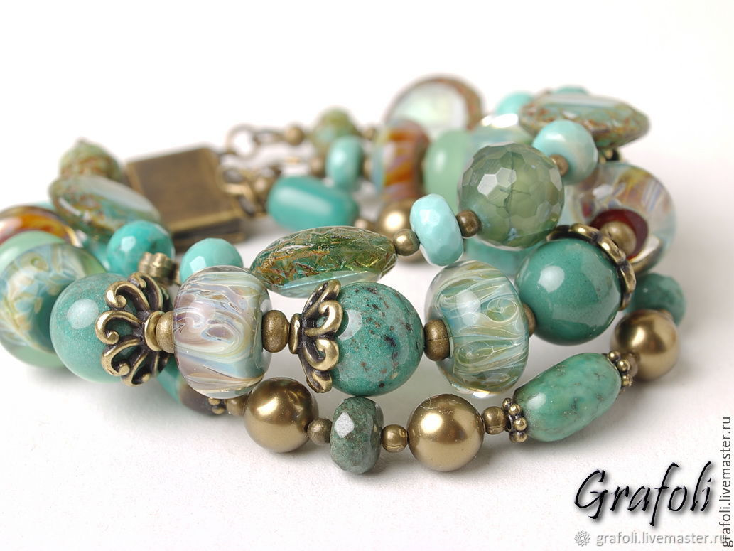 Bracelet with turquoise, Bead bracelet, Moscow,  Фото №1