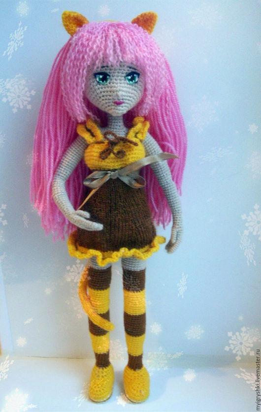 Коллекционные куклы ручной работы. Ярмарка Мастеров - ручная работа. Купить Девочка-тигра. Handmade. Розовый, вязанная игрушка