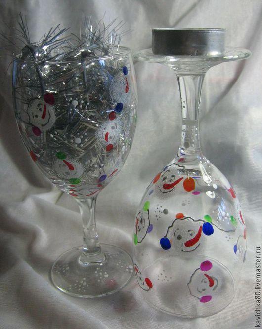 """Бокалы, стаканы ручной работы. Ярмарка Мастеров - ручная работа. Купить Бокалы-подсвечники """"Снеговички"""". Handmade. Комбинированный, подсвечник, стекло"""