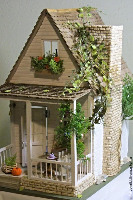 Кукольный дом ручной работы. Ярмарка Мастеров - ручная работа. Купить Домик двухэтажный. Handmade. Домик, кукольная миниатюра, микро