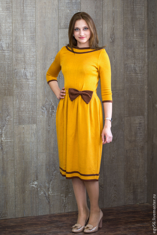 Платья ручной работы. Ярмарка Мастеров - ручная работа. Купить платье куколка. Handmade. Рыжий, вязаное платье, осень 2014