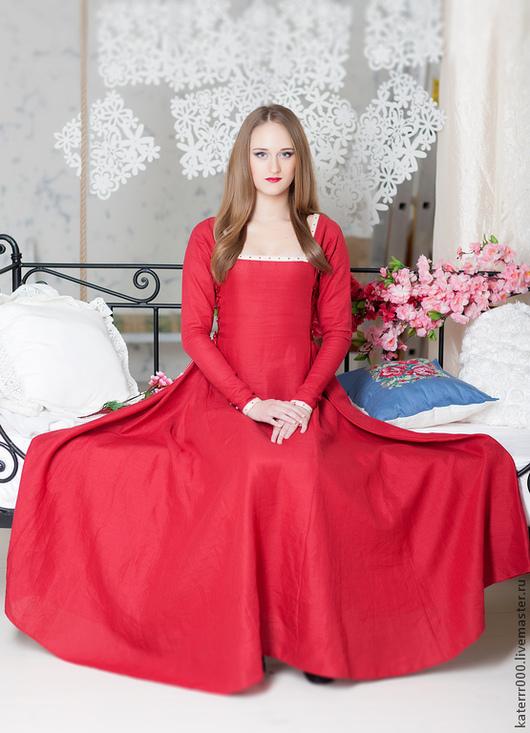 Платья ручной работы. Ярмарка Мастеров - ручная работа. Купить Платье с узким рукавом. Handmade. Ярко-красный, фэнтези платье