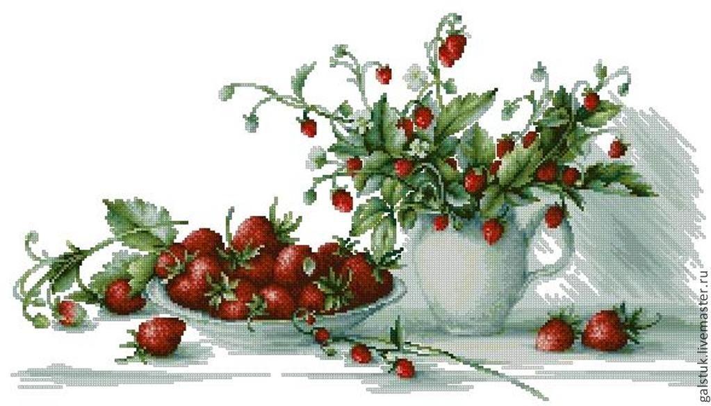 Схема вышивки бисером ягод