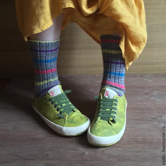 Носки, Чулки ручной работы. Ярмарка Мастеров - ручная работа. Купить Носки вязаные Stripes. Handmade. Носки, Носки шерстяные
