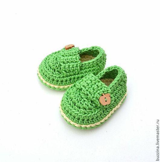 Для новорожденных, ручной работы. Ярмарка Мастеров - ручная работа. Купить Пинетки для мальчика  пинетки мокасины вязаные крючком зеленые. Handmade.