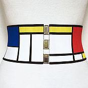 Belt handmade. Livemaster - original item Belt-gum Mondrian 95-100mm stretch for any clothes. Handmade.