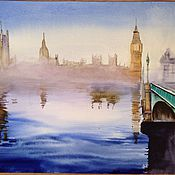 Картины и панно handmade. Livemaster - original item Watercolor painting Dawn over Westminster 30x40cm. Handmade.