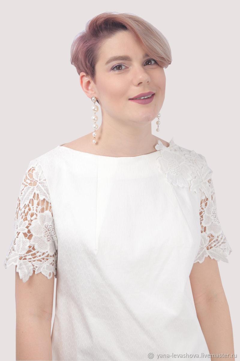 Платье белое хлопковое короткое с кружевом, Платья, Москва,  Фото №1