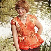 """Одежда ручной работы. Ярмарка Мастеров - ручная работа Авторская одежда жилет жакет   оранжевый валяный """"Спелый персик"""". Handmade."""