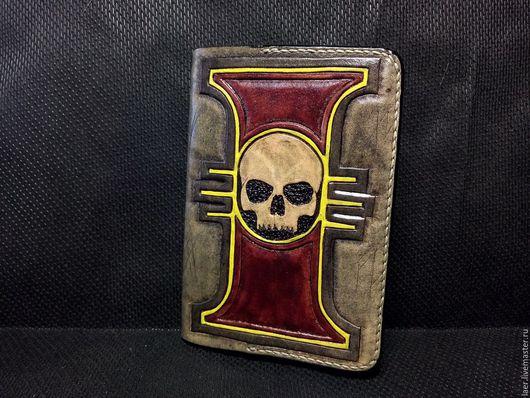 Обложки ручной работы. Ярмарка Мастеров - ручная работа. Купить Кожаная обложка на паспорт в стиле  Warhammer 40k. Handmade. Бордовый