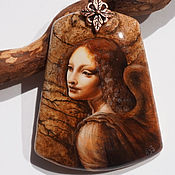 Украшения handmade. Livemaster - original item Painted pendant lacquer miniature Angel da Vinci necklace with stone. Handmade.