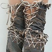 Обувь ручной работы. Ярмарка Мастеров - ручная работа Ботфорты-трансформеры на шпильке темные. Handmade.
