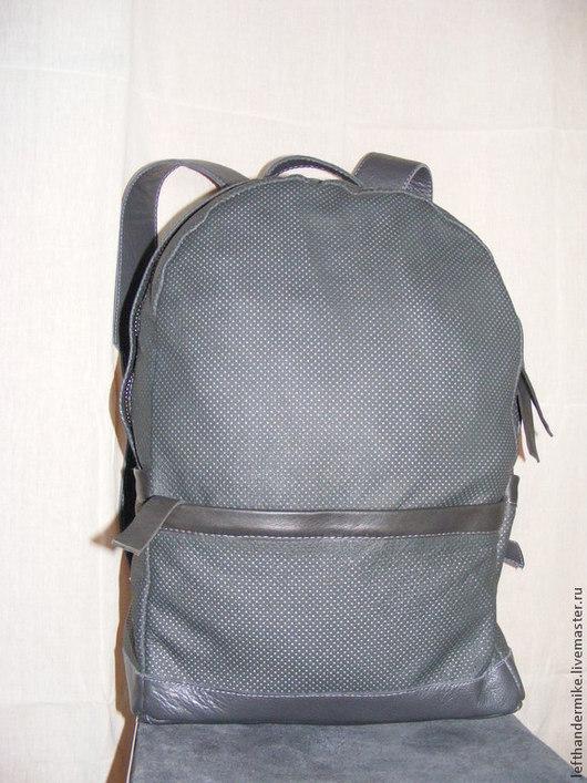 Рюкзаки ручной работы. Ярмарка Мастеров - ручная работа. Купить кожаный рюкзак. Handmade. Серый, перфорированная кожа