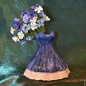 Статуэтки ручной работы. Ярмарка Мастеров - ручная работа керамика Джинсовое платье. Handmade.