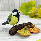 Для дома и интерьера ручной работы. Ярмарка Мастеров - ручная работа Осень золотая - интерьерная композиция (синица, птица на ветке). Handmade.
