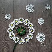 """Для дома и интерьера ручной работы. Ярмарка Мастеров - ручная работа Панно-часы """" Одуванчики"""". Handmade."""