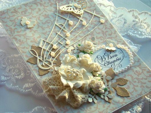 """Свадебные открытки ручной работы. Ярмарка Мастеров - ручная работа. Купить Свадебная открытка """"Мелодия любви"""" кремовая. Handmade. к свадьбе"""