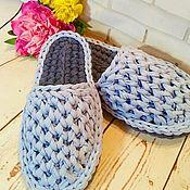 Обувь ручной работы. Ярмарка Мастеров - ручная работа Тапочки домашние из трикотажной пряжи. Handmade.