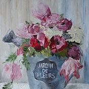 Картины и панно ручной работы. Ярмарка Мастеров - ручная работа Букет в лейке. Handmade.