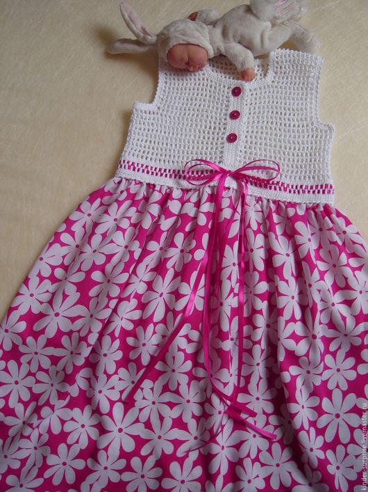 """Одежда для девочек, ручной работы. Ярмарка Мастеров - ручная работа. Купить Сарафан """"Белая ромашка"""" (белый). Handmade. Комбинированный"""
