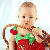 "Работы для детей, handmade. Livemaster - original item Knitted set for girls "" Strawberry "". Handmade."