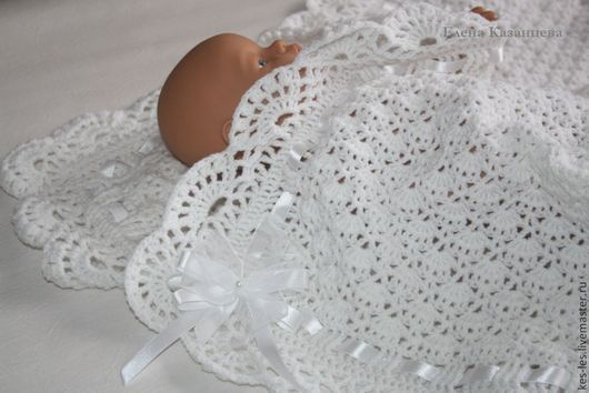 """Пледы и одеяла ручной работы. Ярмарка Мастеров - ручная работа. Купить Плед для новорожденного """"Нежное прикосновение"""". Handmade. Белый, акрил"""
